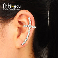 Artilady punk cross design ear cuff  crystal ear pins jewelry for women 2013  free shipping