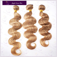 Super Retail coomor hair 2 bundels 27# golden 100% filipino Virgin Hair Weave 100g/pc remi hair Weft Body Wave Free Shipping
