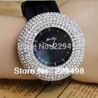 Retail 2014 New Women Rhinestone Watches,Silicone Strap Luxury Fashion Women Dress Watch,Lady Quartz Wristwatch,Free Shipping