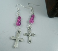 Hot ! 30 pairs Earring. Glass Crack  Beads  / Tibetan Silver  Cross Pendant Earrings / Plated Silver Hooks 14 X 62 mma0617