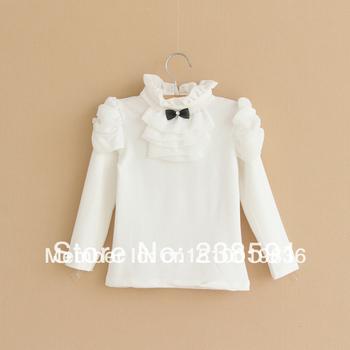 2014 spring autumn  Kids Tops Cartoon Long Sleeves T shirt  Children Girls white  T-shirt Baby Basic Cotton Sweatershirts