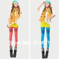 Free Shipping 2013 New Microfiber leggings European/US fashion Candy-colored pirate skull print leggings pantyhose Slim legging