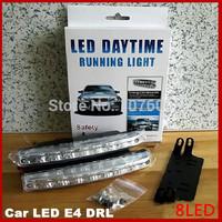 2x Universal Car Daytime Running Lights 8 LED E4 DRL Daylight Kit Super White Driving Running Lamp Fog 12V DC HeadLamp