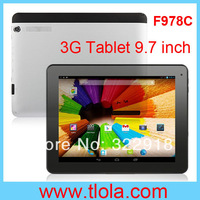 Free Shipping  F978C MTK 8382 Quad Core Android 4.2 1GB RAM 8GB HDD 9.7 inch 3G Phone Call Tablet PC