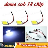 HK POST FREE 50 X 12V Dome panel light COB 18 chips 26*16 mm with Festoon T10 Adapter Car interior reading bulb white #YNL14