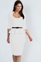 White Long Sleeve Belted Peplum Midi Dress LC6163   2013 new high street  dresses new fashion