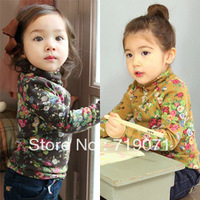 2014 Top Fasion New  free Shipping Winter Girls Clothing Baby Child Print Turtleneck Long-sleeve T-shirt