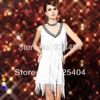 Free shipping Sexy Tassel Sparkling V-Neck Latin Tango Sala Clubwear Fringe Dance Dress D1296