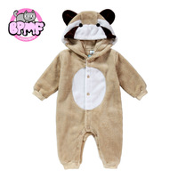 New Animal Style Poco Raccoon Brown Warm 100% Cotton Baby Romper, Spring New Born Romper, Autumn Children Romper
