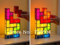 Free shipping,Tetris Stackable LED Desk Lamp,Novelty Tetris Lamp Retro Game Style Tower Block Game Cool Night Light