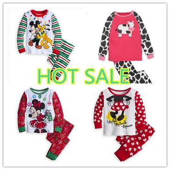 2014 free shipping wholesale New style full sleeve cotton baby pajamas 2pcs set children kids baby clothing set