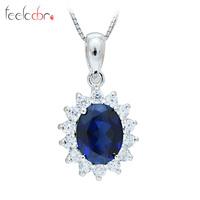 Luxury British Kate Princess Diana William Engagement Wedding Blue Sapphire Pendant Set Pure Solid Genuine 925 Sterling Silver