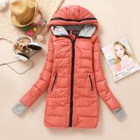 2014 new women's slim slim long Mianfu greyish finger padded coat big code
