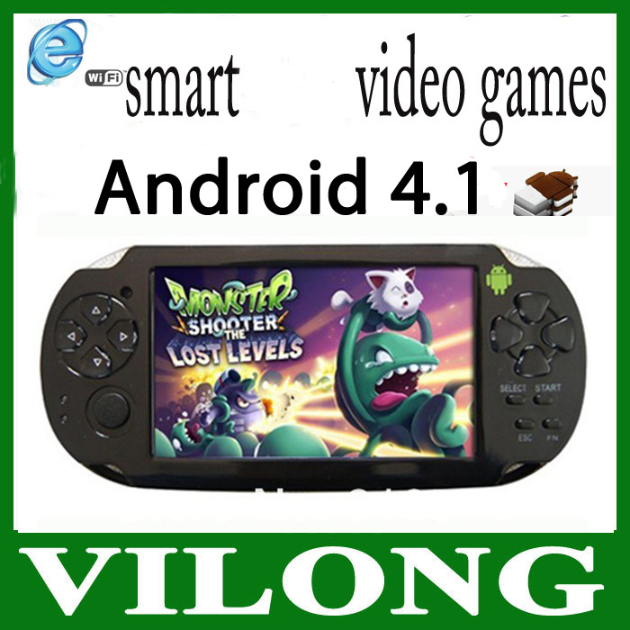 "New 2014 4.3"" Android 4.1 Capacity Touchscreen Game Console TV Output game player Android game(China (Mainland))"