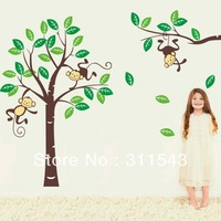 Free shipping cute Monkeys and trees vinyl wallpaper decals,large kids room wall sticker,Nursery Removable Decor Home Mural K008