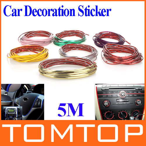 5M Auto Car Sticker Stickers Decoration Thread,Car Styling indoor pater Car Interior Exterior Body Modify Decal 7 Colors(China (Mainland))