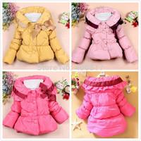 2014 New Arrival Fashion girls winter coat Big Turn-down Collar Bow Decor Warm Girl Down Coat Winter 3 Colors children outerwear