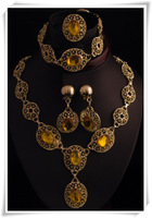 Blue&Yellow Stone Vintage Charm Necklace Vners jewellery,Fashion Jewelry Set(ensemble de bijoux)For Women M109