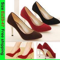 Eu33-47 Spring New Elegant Kid Suede Pointy Toe Red Wedding Shoes Women Fashion Metal Stiletto Straight High heels U.S 12 15