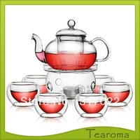 Free shipping Glass Tea Pot For all kind of tea 600ml / heat resistant glass teapot For blooming teapot with 6pcs 50ml cups