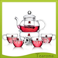 hand made heat resistant glass teapot glass tea pot with infuser pumpkin shape 600ML with 4pcs tea cups free shipping