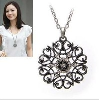 fashion  major circular hollow flower long necklace sweater chain jewelry.Free Shipping! wholesale!