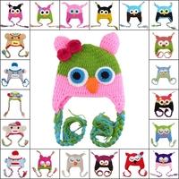22pcs Children Handmade Crochet Monkey and Piggy and Parrot Hats Various Animal Styles Hat Baby Owl Beanie Hat Wool EarFlap Cap