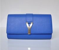 2013 fashion women genuine leather Y day clutch y letter messenger bag women genuine leather bags  famous brands free ship