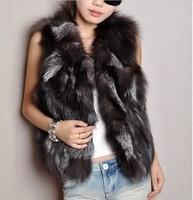 Free shipping 2014 new arrived pure silver fox fur coat Silver fox fur vest ladies vest wholesale price
