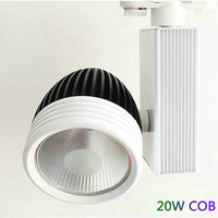 Free shipping  20w LED Track light COB Spotlight track LED 85~100LM/W ,2 PIN White+black 10PCS/LOT
