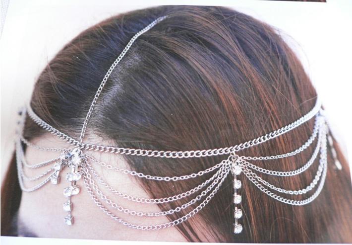 NEW WOMEN SILVER HEAD METAL CHAIN FASHION JEWELRY GRECIAN CIRCLET + RHINESTONES(China (Mainland))