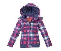 New modern autumn Winter Plaid Pink blue colorful polyester hoody Children Boy girl Kids down jacket Outerwear top LCDS1306