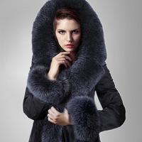 Free Shipping 2013 New Arrival Women's Luxury Blue Fur Collar Long Slim Design Top Fur Down Coat Female Thicken Plus Size S- 5XL