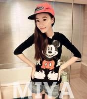 Fashion Women New Tops 2014 harajuku style long sleeve mouse casual t shirts free shipping