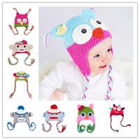 5pcs 27Color Children Handmade Crochet Monkey and Piggy Hats Various Animal Styles Hat Baby Owl Beanie Hat Kids Wool EarFlap Cap