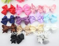 80PCS HOT SALE Ribbon bows for hair flower Solid Satin hair bowknot 2.5Inch for girl hair band DIY flower korean hair bow