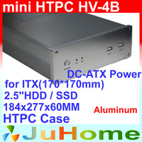 [New] mini-ITX, HTPC case, Ultra-thin 2.5''HDD / SSD, DC-ATX Power Supply, all-aluminum 8mm, for Home Theatre Computer, HV-4B
