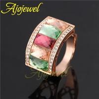 18k rose gold plated big crystal rings for women/men