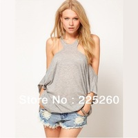 T001 new 2013 fashion autumn summer ultra-wide strapless sex gray T-shirt back hollow personality loose T-shirt for women