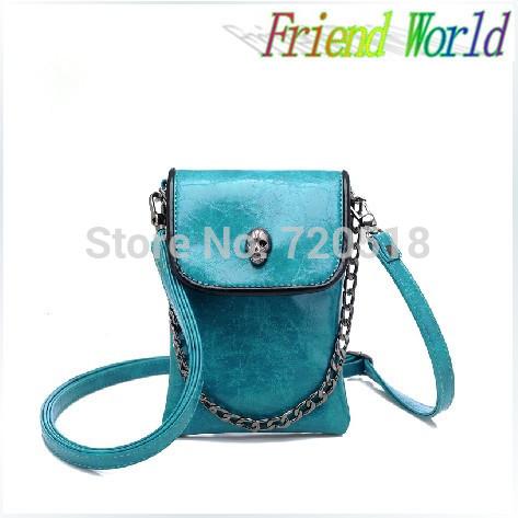 2014 New Arrival Fashion One Shoulder Cross-body Small Bags Skull Chain Mobile Phone Bag Women's Handbag Messenger bag(China (Mainland))