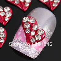 20 pcs Xmas Gift Girl Fashion 3D Alloy Red Rhinestone Heart Crystal Nail Art Tips Slices Decoration Phone DIY UV Gel Decal 9X8mm