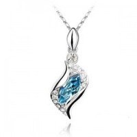 (Min order $10 mix) Fashion 18K white gold plated austrian crystal Angel elves women Pendants necklace