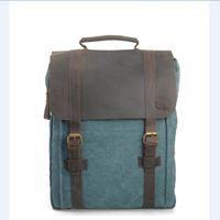4 colors Canvas genuine leather backpack vintage travel bag men school bag