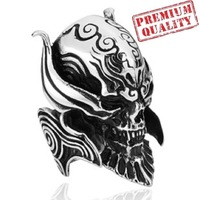 Vintage Men's Ring Skull w Helmet Punk Titanium Steel Stainless Steel Ring