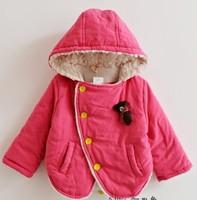 2013 Super deal girl winter fleece hoodies kids warm hooded winter coat kids outerwear jacket