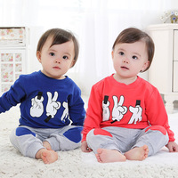 Free shipping , 2014 Fashion High Quality Cotton Finger Patterns Of Boys and Girls Sports Suit Children's clothing
