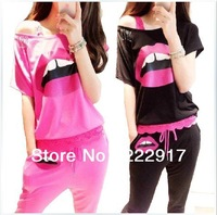 Korea sexy sequined suit big lips big yards leisure sports suit sweater bat sleeve T-shirt Women's pants