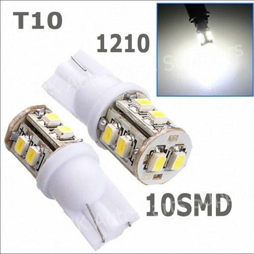 50pcs/lot T10 10smd 10led 10 smd led W5W 168 194 10 1210/3528 LED SMD Car Wedge Light Lamp Bulbs White Five Color(China (Mainland))