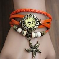 6Pcs/Lot New Stylish Women's Hand Knit bracelet Wristwatch Vintage Quartz Weave Wrap Leather Bracelet Watch Wholesale 18657