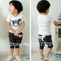 2013 summer children's cartoon dog style clothing set 2 color 5 pcs/lot622203